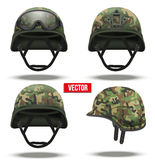 Set of Military tactical helmets camouflage color Royalty Free Stock Image