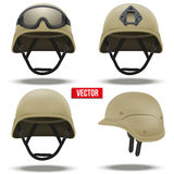 Set of Military tactical helmets desert color Royalty Free Stock Image