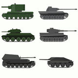 Set of military vehicles and tanks. Flat design royalty free illustration