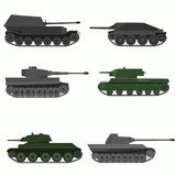 Set of military vehicles and tanks. Flat design stock illustration