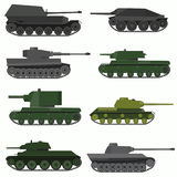 Set of military vehicles and tanks. Flat style vector illustration Stock Photography