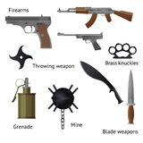Set of military weapons and shotgun in the assembled form, rifles, machine guns, pistols, granyty and others vector illustration