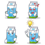Set of milk box character with angry love waiting idea Royalty Free Stock Images