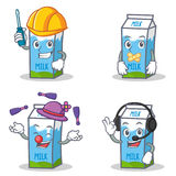 Set of milk box character with automotive silent juggling headphone Stock Photography