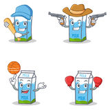 Set of milk box character with baseball cowboy basket boxing Stock Photography
