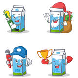 Set of milk box character with beer gift plumber winner Stock Photos