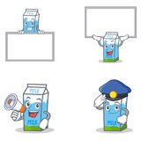 Set of milk box character with board megaphone police Stock Photography