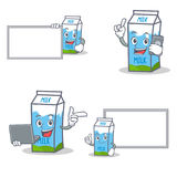 Set of milk box character with board phone laptop. Vector illustration Stock Images