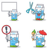 Set of milk box character with bring board sign barber artist Stock Image
