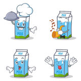 Set of milk box character with chef trumpet surprised tongue out Stock Images