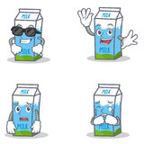 Set of milk box character with cool waving afraid crying Stock Images