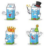Set of milk box character with crazy magician king clown. Vector illustration Stock Photo