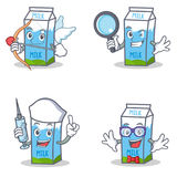 Set of milk box character with cupid detective nurse geek Royalty Free Stock Photography