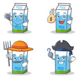 Set of milk box character with doctor money bag farmer pirate Royalty Free Stock Photography