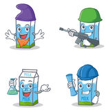 Set of milk box character with elf army professor architect Stock Images