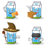 Set of milk box character with envelope box witch virtual Stock Photos