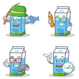 Set of milk box character with fishing student gamer clock Royalty Free Stock Image