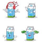 Set of milk box character with listening call me money eye. Vector illustration Royalty Free Stock Image