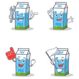 Set of milk box character with mechanic foam finger flag Stock Photography