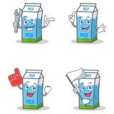 Set of milk box character with mechanic foam finger flag. Vector art Stock Photography