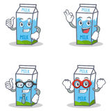 Set of milk box character with okay proud businessman hero. Vector illustration Royalty Free Stock Image