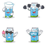 Set of milk box character with sailor fitness ice cream diving Stock Photo