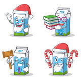 Set of milk box character with Santa candy book judge Stock Images