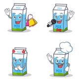 Set of milk box character with shopping karaoke devil chef. Vector illustration Royalty Free Stock Photo