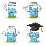 Set of milk box character with two finger wink graduation Stock Photography