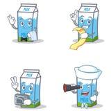 Set of milk box character with waiter menu photo binocular Royalty Free Stock Photo