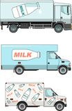 Set of milk cars  on white background in a Stock Photos
