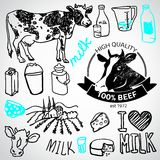 Set of milk and creamery labels,. Emblems and design elements Stock Images