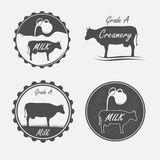 Set of milk. And creamery labels, emblems and elements Royalty Free Stock Image