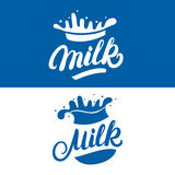 Set of Milk hand written lettering logo, label or badge. Royalty Free Stock Photo