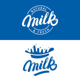 Set of Milk hand written lettering logo, label or badge. Royalty Free Stock Photos