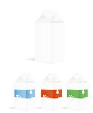 Set of milk packing containers Royalty Free Stock Images