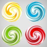 Set of milk yogurt cream curl or lollipop. Vector illustration for sweet sugarplum design. Smooth textures of sugar candy. Bright red, blue, yellow, green and Stock Image