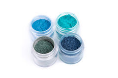 Set of mineral eye shadows in blue color Stock Photo
