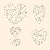 Set of mineral heart-shaped crystals Royalty Free Stock Images