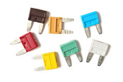 Set of mini blade type fuses Royalty Free Stock Photo