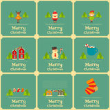 Set of Mini Christmas Cards Stock Images