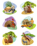 Set Of Mini Compositions On Safari Theme. Collection of decorative mini compositions on safari theme with african animals aborigines and  hunter cartoon vector Stock Photography