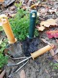 Set mini garden tools as a hobby stock photos