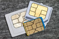 Set of mini, micro and nano simcard.  on grey cloth text. Ure background Royalty Free Stock Images
