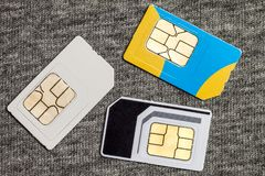 Set of mini, micro and nano simcard.  on grey cloth text. Ure background Royalty Free Stock Image