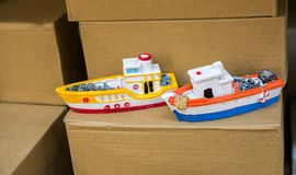 Set of little colorful model boats royalty free stock photo