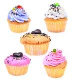 Set of mini tasty cupcake isolated on white background Royalty Free Stock Photos
