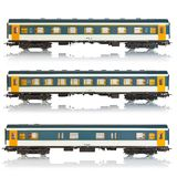 Set of miniature passenger railroad cars Stock Photos