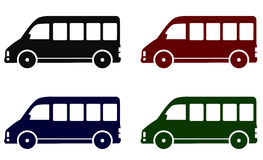 Set of minibus icons. Set of colorful delivery minibus icons on white background Royalty Free Stock Images