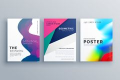 Set of minimal brochure template leaflet flyer design in A4 size. Made with geometric shapes and fluid colors Stock Photo